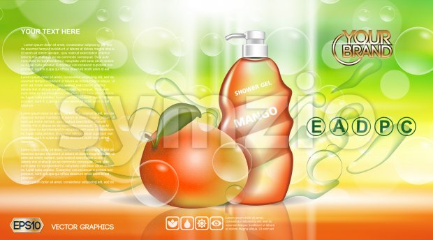 Digital vector red and green shower gel cosmetic container mockup, your brand, ready for print ads or magazine design. Mango fruit and soap bubbles. Stock Vector