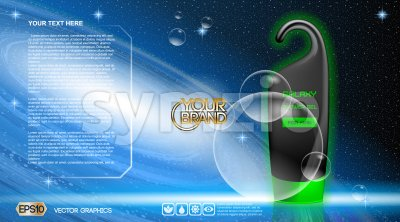 Vector blue and green shower gel cosmetic container mockup, ready for print or magazine design. Galaxy for men soap and bubbles, cosmic and space Stock Vector