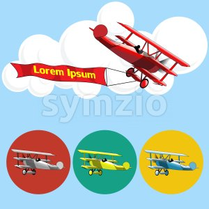 Old airplane model flying in the sky with clouds, silver, blue, red and yellow set collection over blue background. Digital vector image. Stock Vector