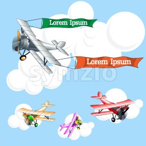 Old airplane model with ribbons flying in the sky with clouds, silver, pink, red and orange set collection over blue background. Digital vector image. Stock Vector