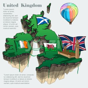 United kingdom country infographic map in 3d with country shape flying in the sky with clouds, big flags of ireland scotland and a colored flying Stock Vector