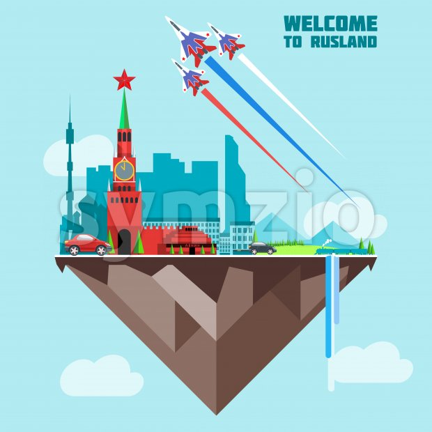Russia country infographic map in 3d with country shape flying in the sky with clouds, flying jets drawing the white, red and blue colors. Digital Stock Vector