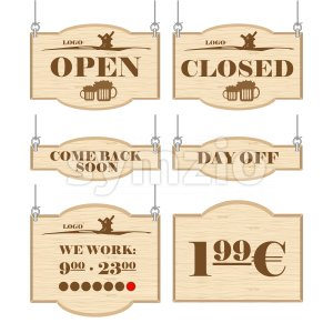 Western bar logo set collection with open, closed, day off signs in outline. Digital vector image. Stock Vector