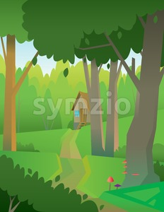 Digital vector abstract background with a green forest, big tree,small wooden house, flat triangle style Stock Vector