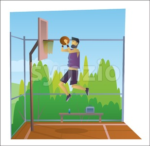 Digital vector abstract old cartoony man in sport outfit jumping and playing basketball on a playground, over blue background, flat triangle style Stock Vector
