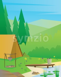 Digital vector abstract background with a tourist camp with fireplace, big tree, a river and fish, blue sky, flat triangle style Stock Vector