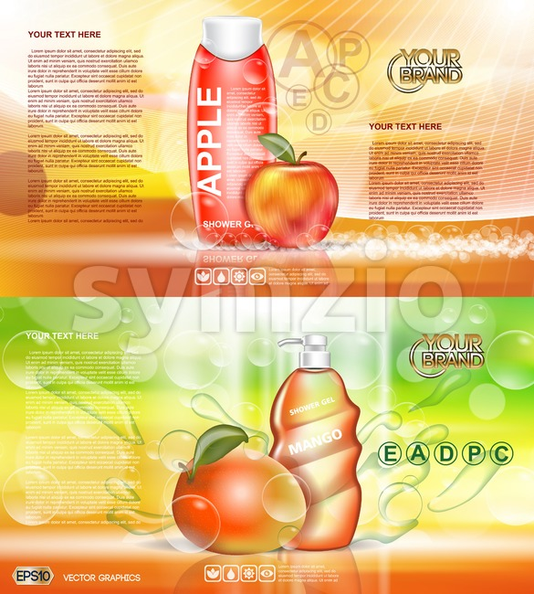 Digital vector red and orange shower gel cosmetic container mockup, your brand, ready for print ads design. Apple fruits and mango soap bubbles. Stock Vector