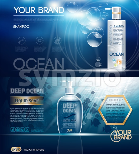 Digital vector ocean blue shower gel and soap mockup on water background with bubbles, oil skin pretector, your brand, ready for design. Realistic Stock Vector