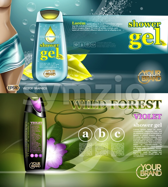 Digital vector aqua and yellow shower gel for women mockup on water background with bubbles, oil skin pretector, your brand, ready for design. Stock Vector
