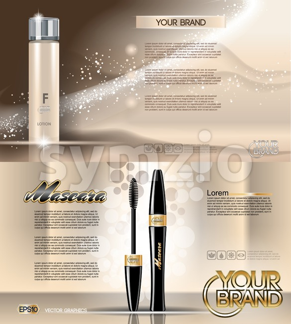 Digital vector golden glass bottle lotion skin tone and mascara mockup, with your brand, ready for print ads or magazine design. Transparent and Stock Vector