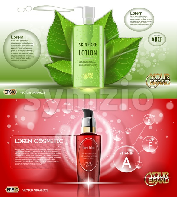 Digital vector red and green glass cosmetic container mockup with bubbles, with your brand, ready for print ads or magazine design. Transparent and Stock Vector