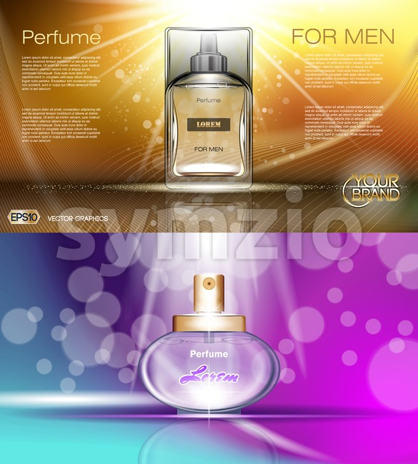 Digital vector brown yellow and purple glass perfume for men and women container mockup, with your brand, ready for print ads or magazine design. Stock Vector