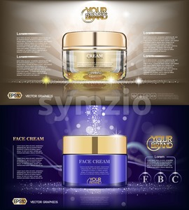 Digital vector glass face cream brown and purple container mockup, with your brand, ready for print ads or magazine design. Transparent and shine, Stock Vector