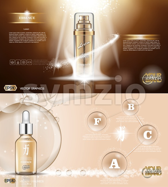 Digital vector golden glass bottle spray essence and creammockup on brown background, with your brand, ready for print ads or magazine design. Stock Vector