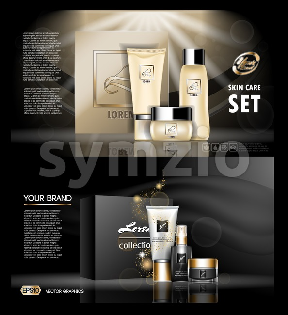 Digital vector golden and black skin care cream, mascara cosmetic container set mockup collection, your brand package, print ads or magazine design. Stock Vector