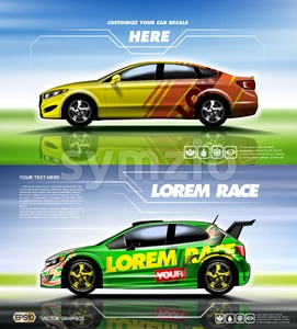 Digital vector yellow red and green sedan sport car mockup, ready for print or magazine design. Your brand, customize your decals. Blue and green Stock Vector