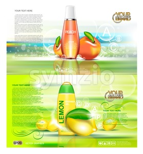 Digital vector red and orange shower gel cosmetic container mockup, your brand, ready for print ads design. Peach lemon fruits and soap bubbles. Stock Vector