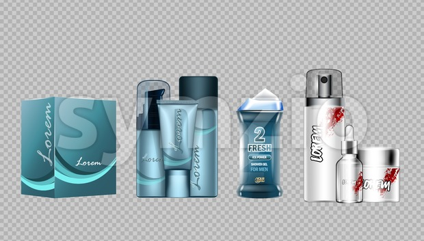 Digital vector blue skin care cream, lotion, shower gel and perfume cosmetic container set mockup collection, your brand package, magazine design. Stock Vector