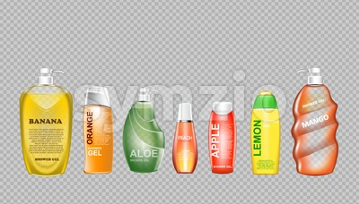 Digital vector green and yellow shower gel set cosmetic container mockup, your brand, ready for print ads design. Banana fruit, aloe vera and mango. Stock Vector