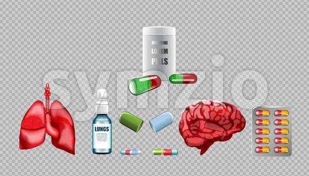 Digital vector red medicine lungs structure and brain infographics of respiratory healthcare mockup and pills container, with your brand, ads or Stock Vector