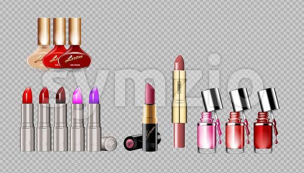 Digital vector silver container and colored glamorous lipsticks and nail polish set mockup, with your brand, ready for print ads or magazine design. Stock Vector