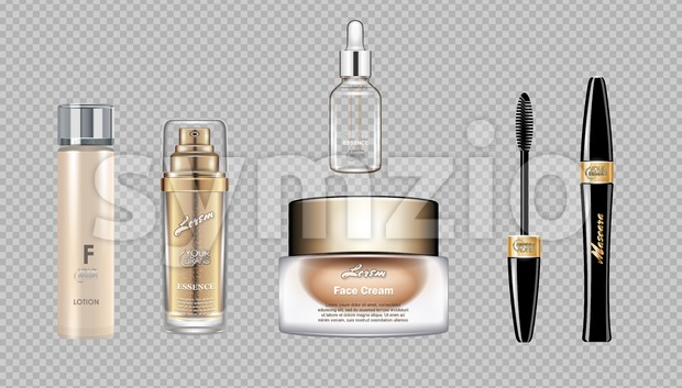 Digital vector eye care cream, eyelash applicator and mascara brush cosmetic container set mockup collection, cream, glass lotion container. Stock Vector