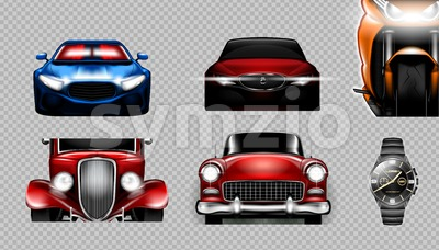 Digital vector blue red and orange sport cars mockup set, bike and metalic watch. Your brand. Isolated. Transparent, realistic 3d, reflection Stock Vector