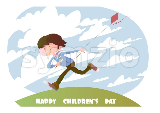 Digital vector happy children day card, running kid with a kite and clouds Stock Vector