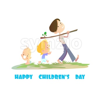 Digital vector happy children day card, baby boy and small kids walking Stock Vector