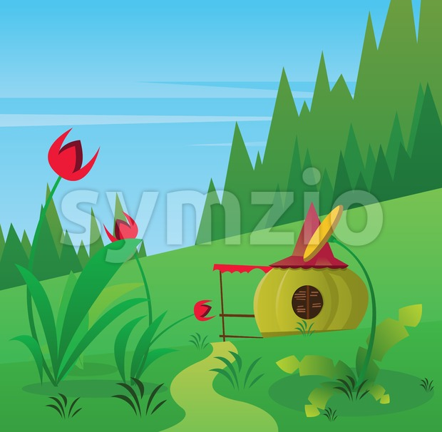 Digital vector, fairytale and fantasy road into green forest, red flowers and small pumpkin house, dark blue sky with white birds, flat style Stock Vector
