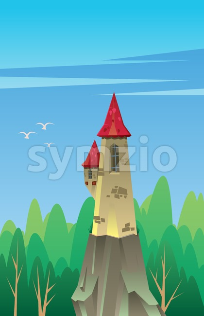 Digital vector, fairytale and fantasy castle with red roof built on a rock in the green forest, dark blue sky with white birds, flat style Stock Vector