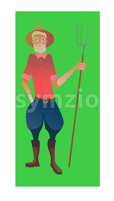 Digital vector, old farmer with beard and hat and pitchfork, cartoon character for infographics with a hat thinking, flat style Stock Vector
