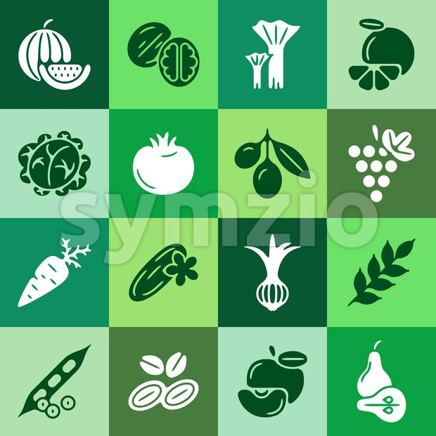 Digital green vegetable square icons set infographics drawn simple line art pattern, onion squash pear orange apple grape carrot wallnut peas Stock Vector