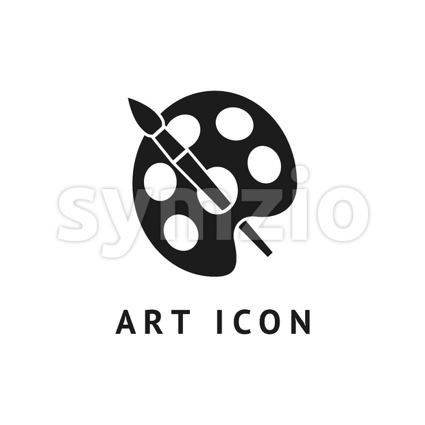 Digital vector black school icon with drawn simple line art, brush and paint outline, flat style Stock Vector