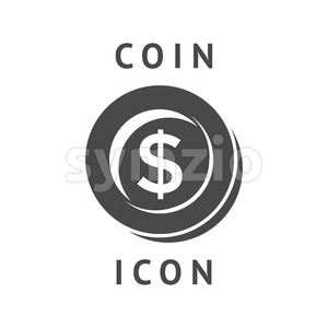 Digital vector black business coin icon with drawn simple line art, flat style Stock Vector