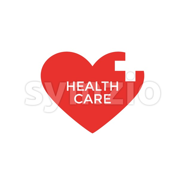 Digital vector pharmacy medical big red heart icon with drawn simple line art, flat style Stock Vector