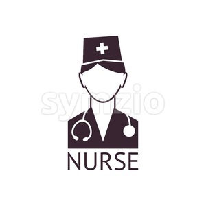 Digital vector black pharmacy medical nurse icon with drawn simple line art, flat style Stock Vector