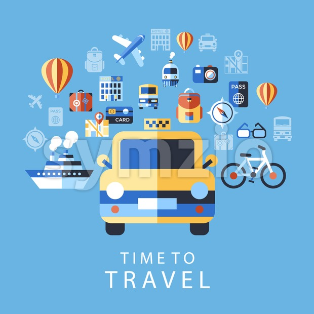Digital vector blue summer time travel icons set with drawn simple line art info graphic poster promo, ship boat camera balloon compass air plane map Stock Vector