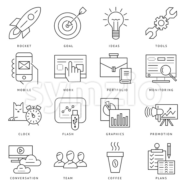 Digital vector black startup business icons with drawn simple line art info graphic, presentation with project and team elements around promo Stock Vector