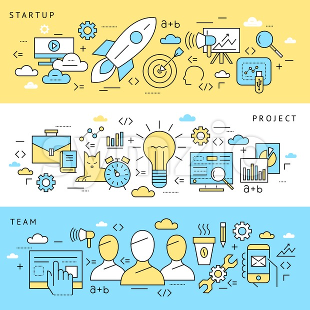 Digital vector blue startup business icons with drawn simple line art info graphic, presentation with project and team elements around promo template, Stock Vector