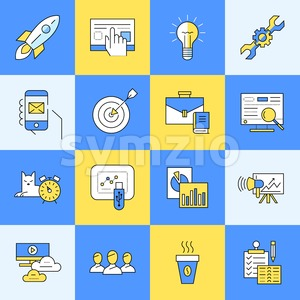 Digital vector yellow and blue startup business icons with drawn simple line art info graphic, presentation with project and team elements around Stock Vector