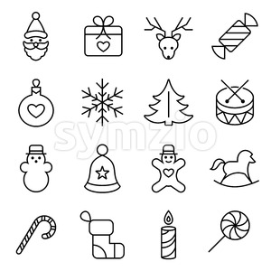 Digital vector black happy new year icons with drawn simple line art info graphic, presentation with toys and gifts elements around promo template, Stock Vector