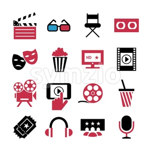 Digital vector red black 16 cinema icons with drawn simple line art info graphic, presentation with screen, movie and film elements around promo Stock Vector
