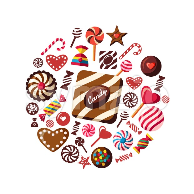 Digital vector red brown sweet candies icons with drawn simple line art info graphic, presentation with sweety, chocolate and cookies elements around Stock Vector