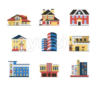 Digital vector blue red city buildings icons with drawn simple line art info graphic, presentation with bank, shop and business centre elements around Stock Vector