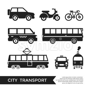 Digital vector black city transport icons set with drawn simple line art info graphic, presentation with car, tram and taxi elements around promo Stock Vector