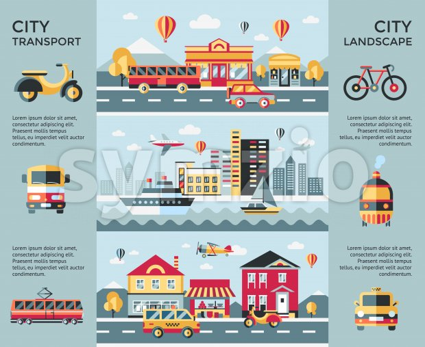 Digital vector blue city landscape transport icons with drawn simple line art info graphic, presentation with car, boat and urban building elements Stock Vector