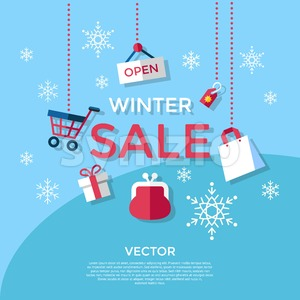 Digital vector blue winter sale shopping icons with drawn simple line art info graphic, presentation with money, commerce and economy elements around Stock Vector