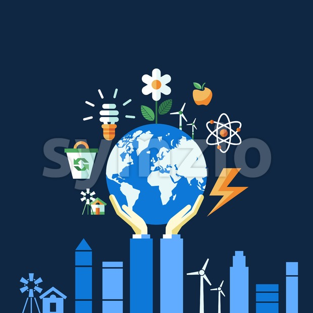 Digital vector blue ecology icons with drawn simple line art info graphic, hand holding planet earth, presentation with recycle, alternative energy Stock Vector