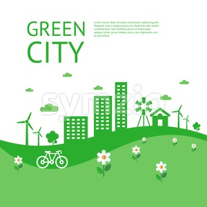Digital vector green city ecology icons with drawn simple line art info graphic, presentation with recycle, windmills and alternative energy elements Stock Vector